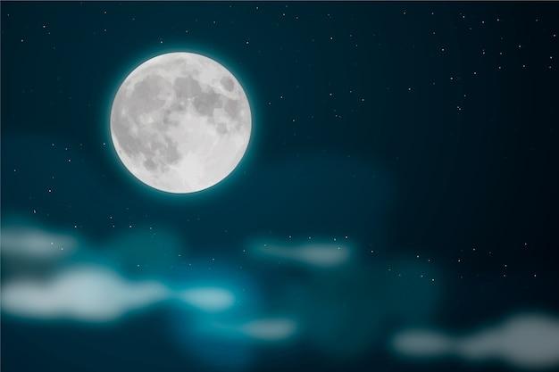 Realistisch volle maan hemel behang