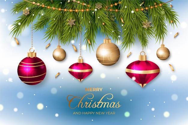 Realistisch vrolijk kerstmisontwerp als achtergrond