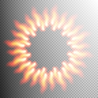 Realistisch vuur transparant effectframe.