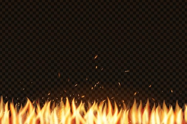 Realistisch vuureffect voor decoratie en bekleding op de transparante achtergrond. concept van sparkles, vlammen en licht.