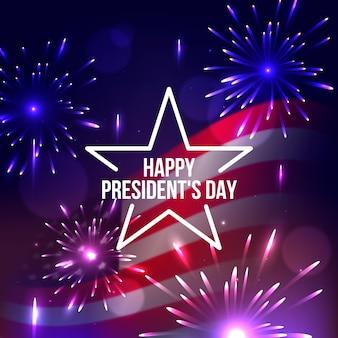 Realistisch vuurwerk voor de dag van de president van amerika