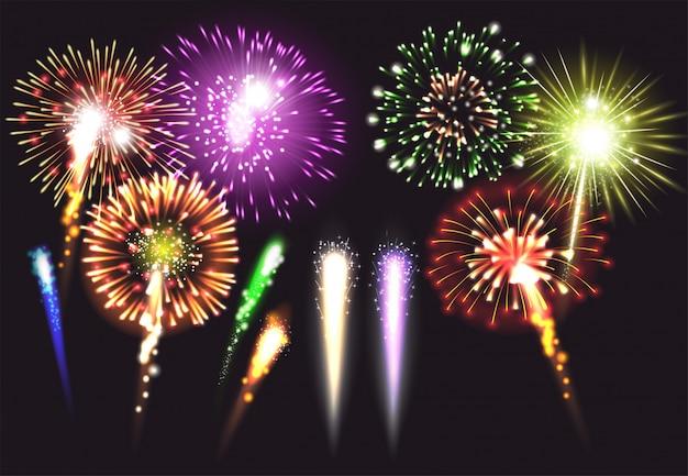 Realistisch vuurwerkpictogram dat in verschillende verlichte groottevormen en kleuren en heldere illustratie wordt geplaatst