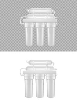 Realistisch waterfilter, omgekeerde osmose natuurlijk vers aqua-zuiveringssysteem 3d Premium Vector