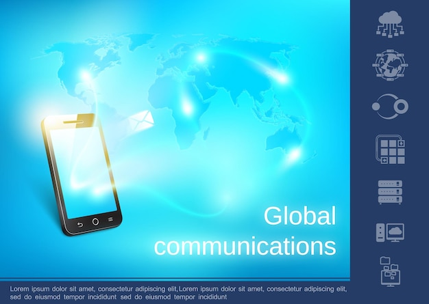 Realistisch wereldwijd communicatieconcept met berichten die naar telefoon van over de hele wereld worden verzonden blauwe digitale kaart en lineaire pictogrammenillustratie,