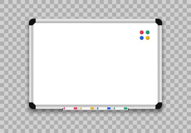 Realistisch whiteboard. kantoorbord met markeerstiften.