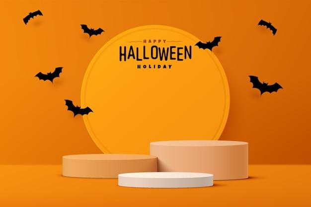 Realistisch wit en oranje 3d-cilindervoetstuk met vleermuiscartoon die in halloween-scène vliegt