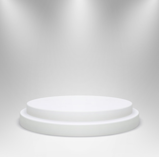 Realistisch wit rond podium in studioverlichting. 3d voetstuk of platform voor productshowcase op een grijze achtergrond. illustratie.