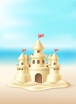 Realistisch zandkasteel met torens