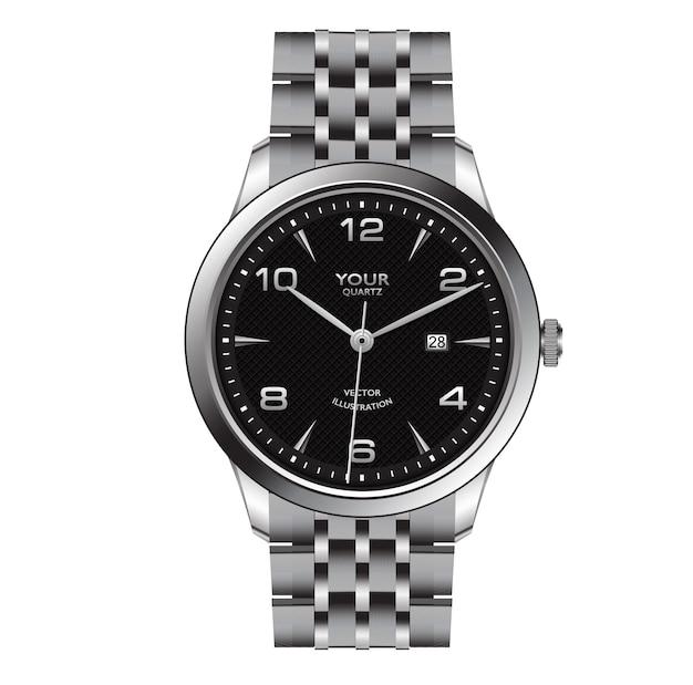 Realistisch zilveren horlogeklok donkergrijs gezichtsontwerp voor mannenmode op witte achtergrond