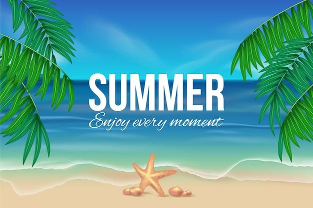 Realistisch zomerbehang met strand