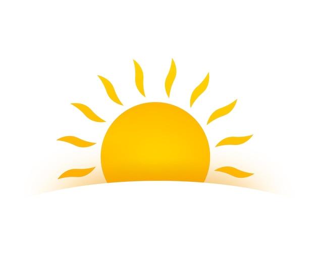Realistisch zonpictogram voor weerontwerp op witte achtergrond.