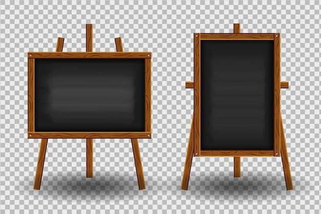 Realistisch zwart krijtbord met houten frame