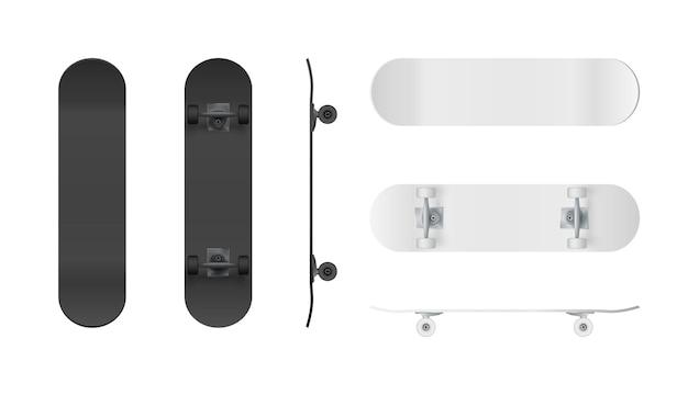 Realistisch zwart-wit skateboard.