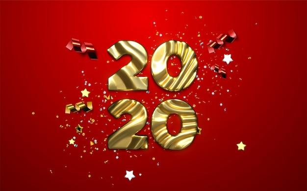 Realistische 2020 gouden cijfers en feestelijke confetti, sterren en linten. vakantie illustratie