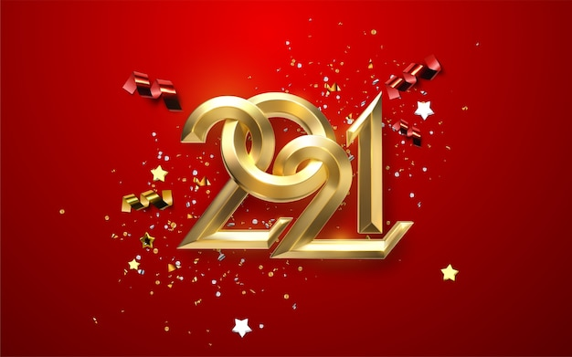 Realistische 2021 gouden en zilveren cijfers met feestelijke confetti, sterren en linten op rode achtergrond. vakantie illustratie. gelukkig nieuw 2021