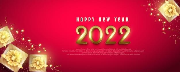 Realistische 2022 gelukkig nieuwjaar achtergrond met geschenkdozen en decoratieve verlichting