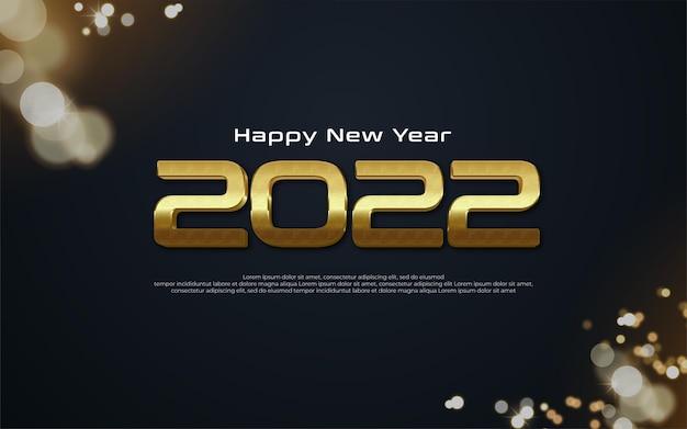 Realistische 2022 gelukkig nieuwjaar banner met gouden nummer