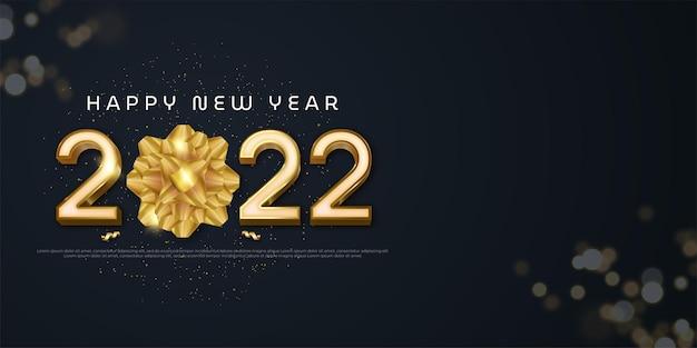 Realistische 2022 gelukkig nieuwjaar banner met lintvouw en tekstruimte