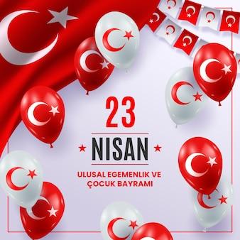 Realistische 23 nisan-illustratie met ballonnen