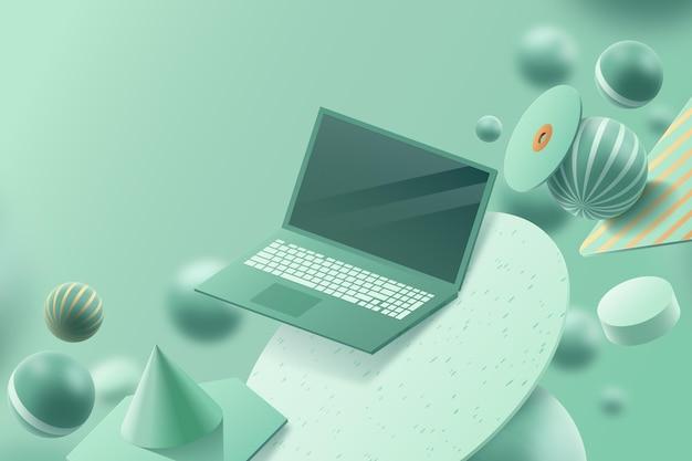 Realistische 3d-advertentie met laptop