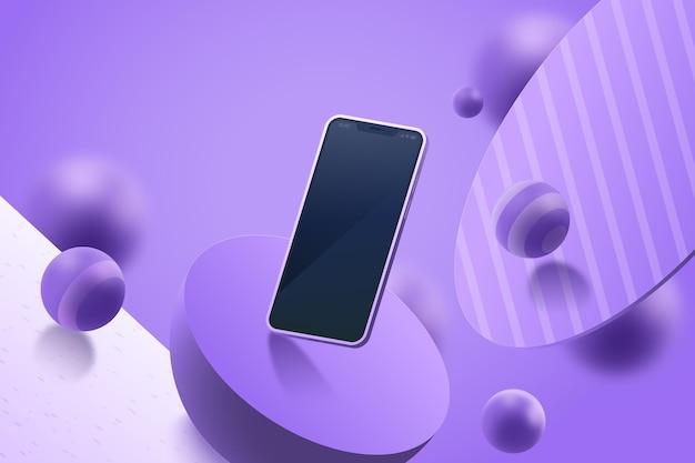Realistische 3d-advertentie met smartphone