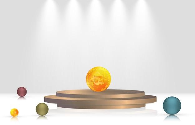 Realistische 3d-ballen en bitcoin op platform.