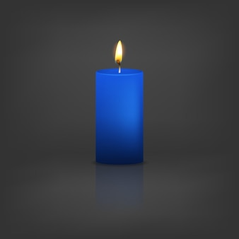 Realistische 3d-blauwe kaars met reflectie.