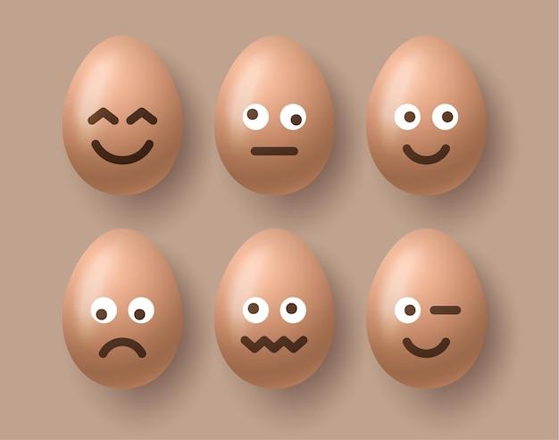 Realistische 3d-bruine ei-tekenset