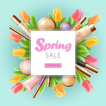 Realistische 3d cosmetische lente verkoop sjabloon voor spandoek, vierkante promotionele poster