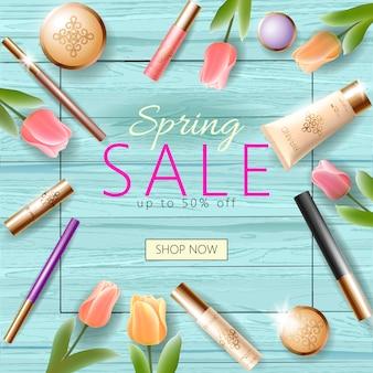 Realistische 3d cosmetische lente verkoop sjabloon voor spandoek, vierkante promotionele