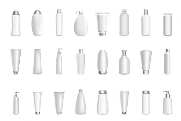 Realistische 3d cosmetische productflesverpakking pakket lege sjablonen