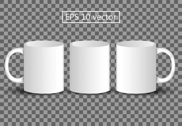 Realistische 3d drie mok sjabloon logo ontwerp