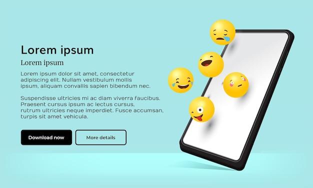 Realistische 3d-emoji-dag met telefoon