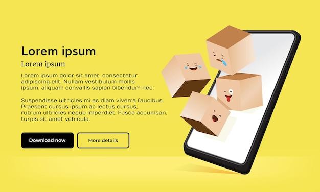 Realistische 3d-emoji-doos met telefoon