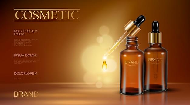 Realistische 3d essentie fles cosmetische advertentie olie druppel vallende pipet