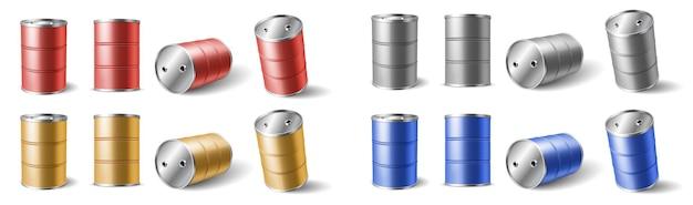Realistische 3d-gedetailleerde kleurenvaten voor olie, gas, aardolie, benzine of benzineverpakking, opslag en transport. 3d vectorillustratie