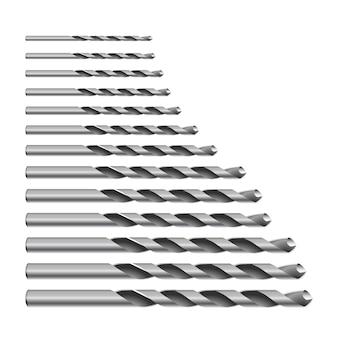 Realistische 3d gedetailleerde metaalboor voor metaal voor perforator bits set tools voor bouwwerkzaamheden, boorgat.