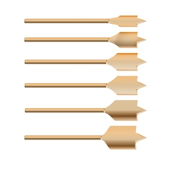 Realistische 3d-gedetailleerde metalen boor voor houtbeetjes set gereedschap voor bouwwerkzaamheden, boorgat.