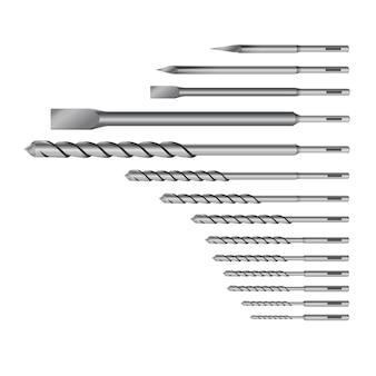 Realistische 3d-gedetailleerde metalen boor voor steenboor of perforator bits set tools voor bouwwerkzaamheden, boorgat.