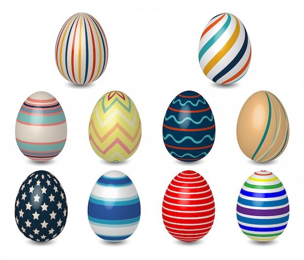 Realistische 3d-gekleurde paaseieren verschillende textuur, patroon op witte achtergrond