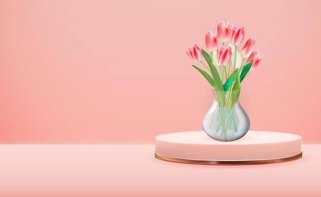 Realistische 3d-glazen transparante vaas met tulpenbloem op roze gouden voetstuk