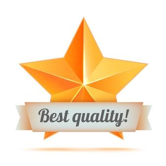 Realistische 3d-gouden ster. prijswinnaar. goed gedaan. de beste beloning. bulk koperen ster. eenvoudige ster, beste kwaliteit. de prijs voor de beste keuze. premiumklasse. gouden 3d ster met lint