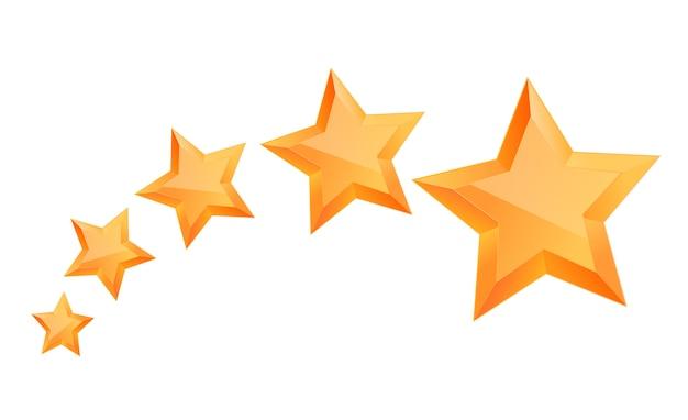 Realistische 3d-gouden ster. prijswinnaar. vijf gouden sterren. goed gedaan. beste beloning. bulk koperen ster. eenvoudig 5 sterren. de prijs voor de beste keuze. premiumklasse.