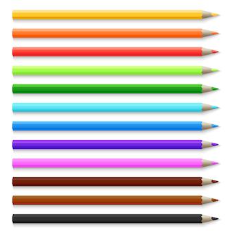 Realistische 3d houten kleurpotloden die op witte vectorillustratie worden geïsoleerd