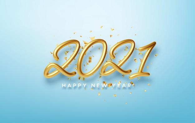 Realistische 3d-inscriptie 2021 met gouden confetti geïsoleerd op blauwe achtergrond. gouden glanzende belettering.