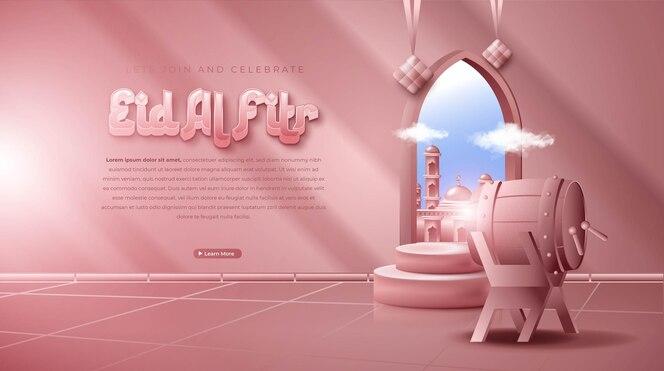 Realistische 3d-islamitische ornamentcompositie voor eid mubarak of eid al fitr-banner