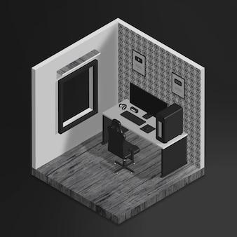 Realistische 3d isometrische gamerkamer