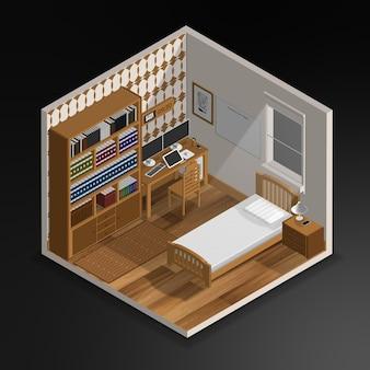 Realistische 3d isometrische slaapkamer