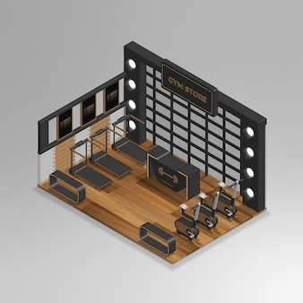Realistische 3d isometrische sportschoolwinkel