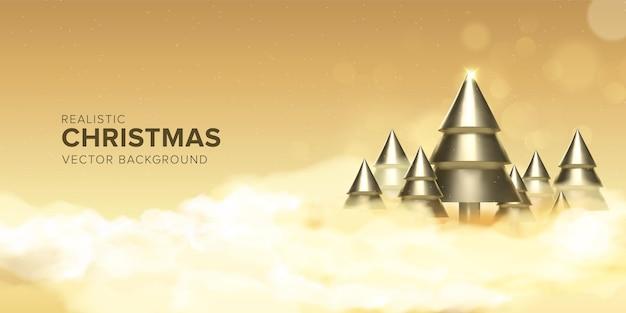 Realistische 3d kerstboom ontwerp achtergrond in gouden kleur boven de wolken premium vector
